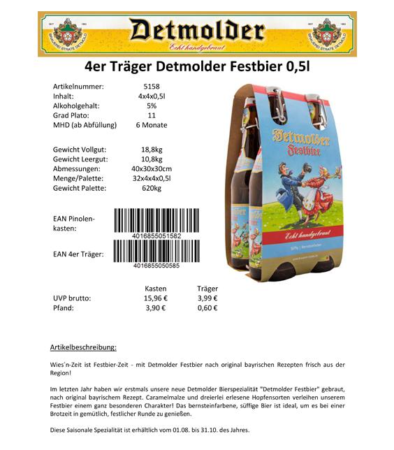 Artikelpass - 4er Träger Detmolder Festbier 0,5 Image