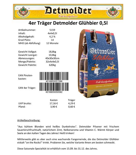 Artikelpass - 4er Träger Detmolder Glühbier 0,5 Image