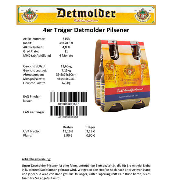 Artikelpass - 4er Träger Detmolder Pilsener Image