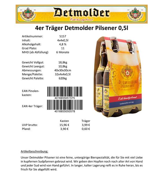 Artikelpass - 4er Träger Detmolder Pilsener 0,5 Image