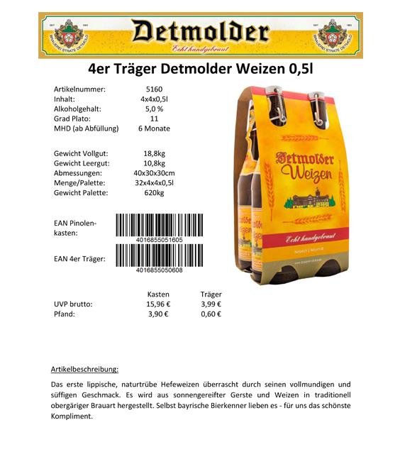 Artikelpass - 4er Träger Detmolder Weizen 0,5 Image