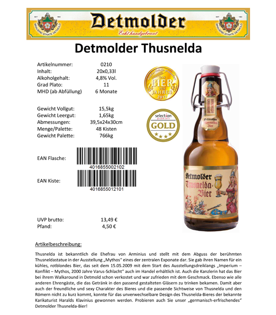 Artikelpass - Detmolder Thusnelda Bier Image