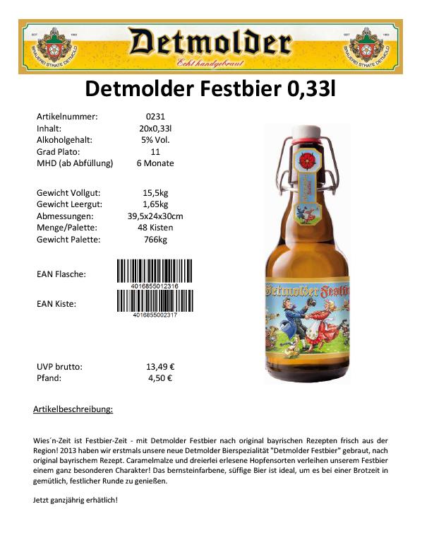 Artikelpass - Detmolder Festbier 0,33l Image