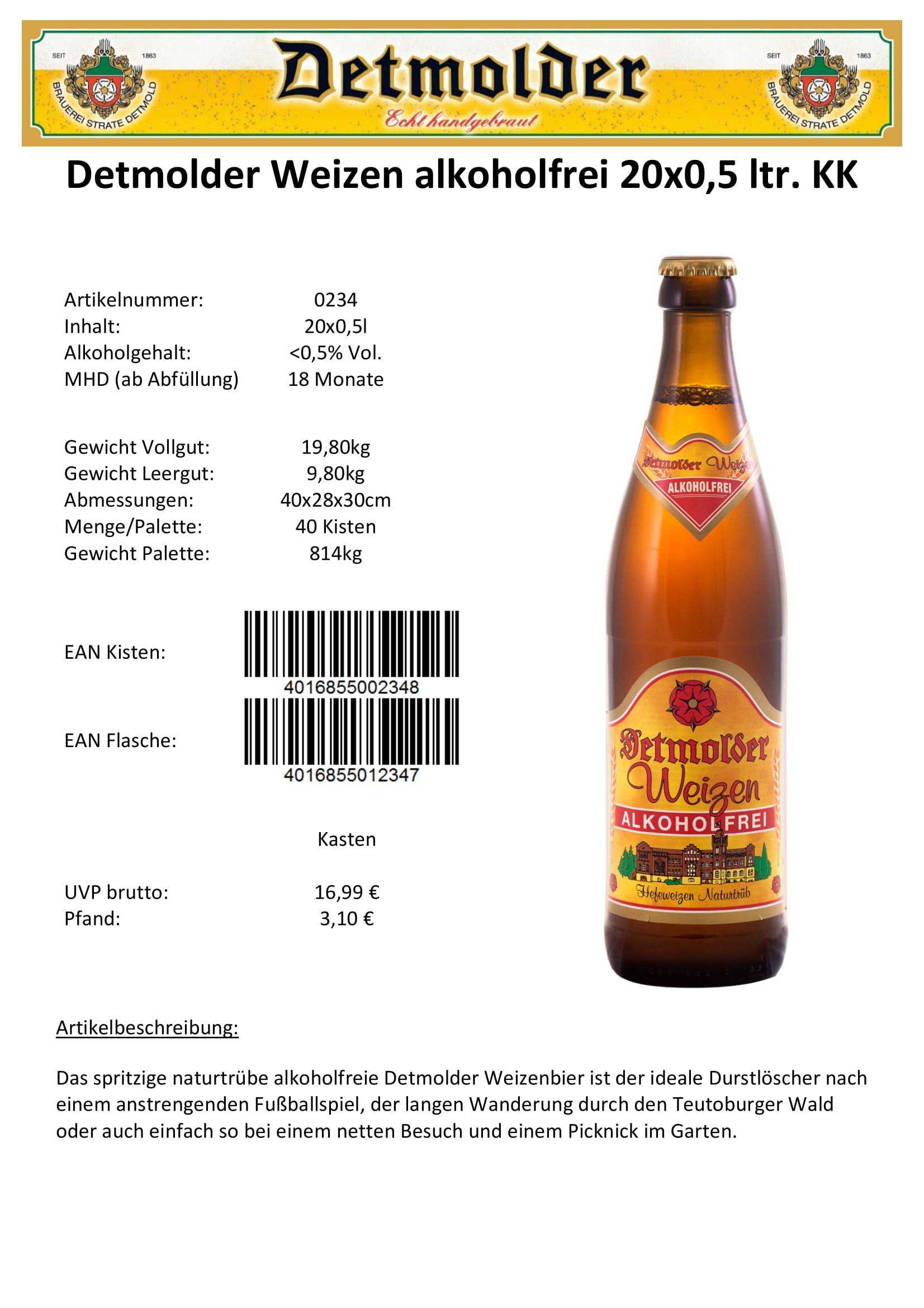 Artikelpass - Detmolder Weizen Alkoholfrei Image